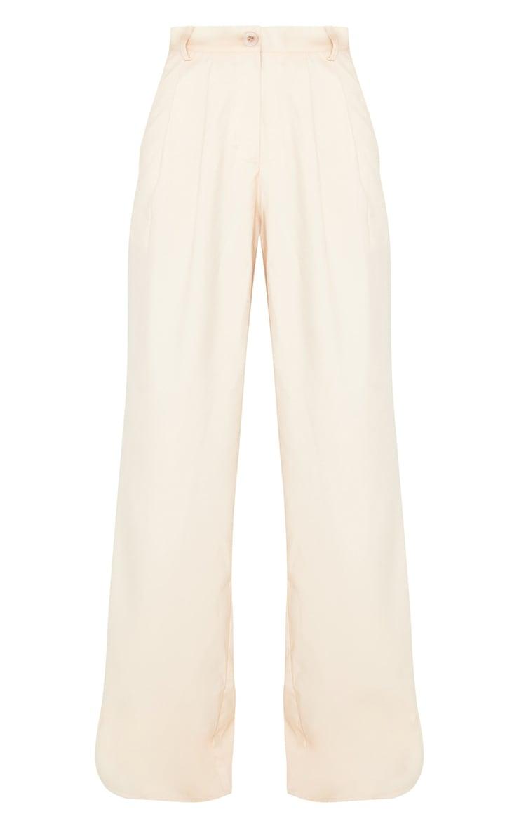 Cream Wide Leg Woven Trousers 6