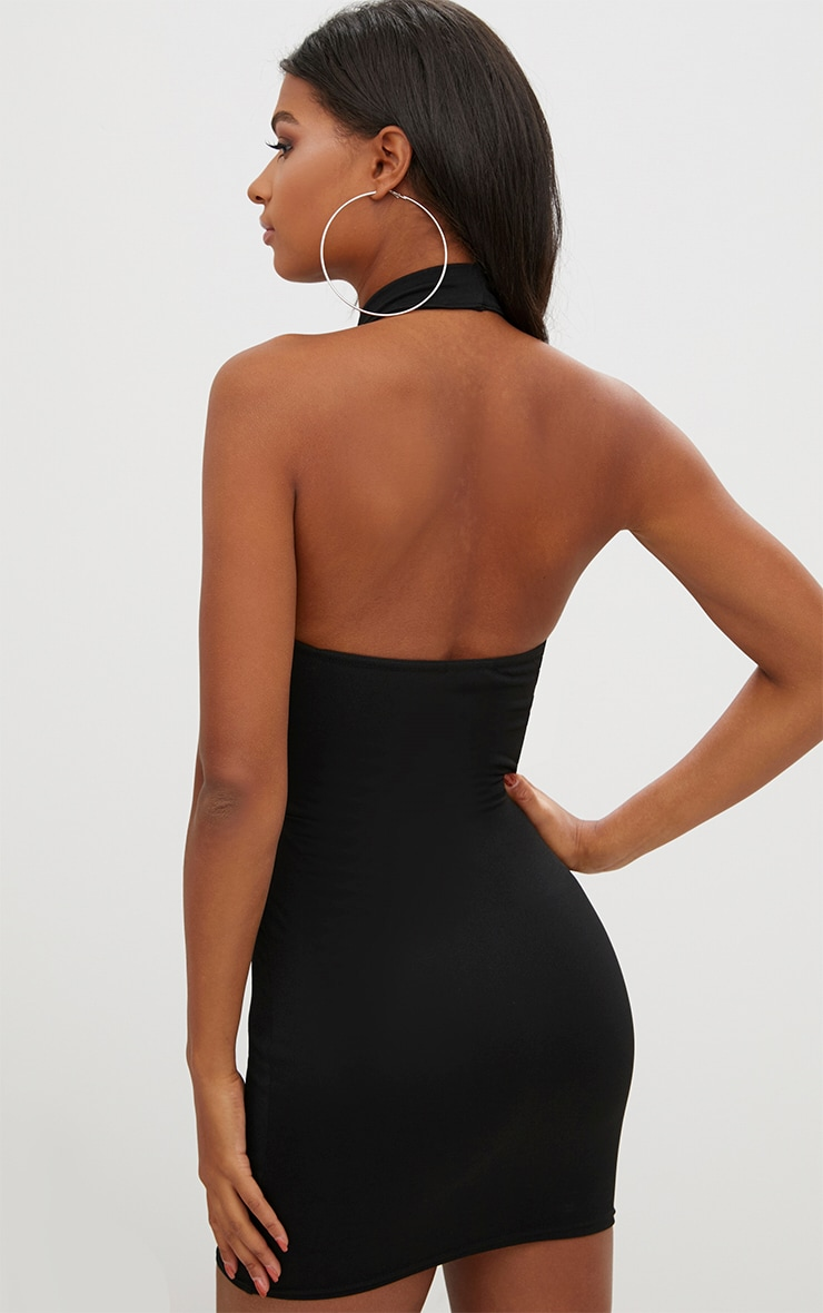 Black High Neck Strap Detail front Bodycon Dress 2