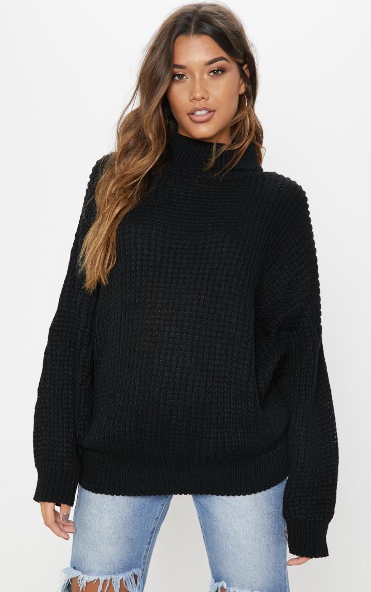 Black Oversized High Neck Knitted Jumper  1