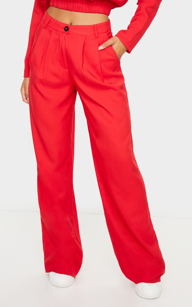 Red Woven Wide Leg Pants 2