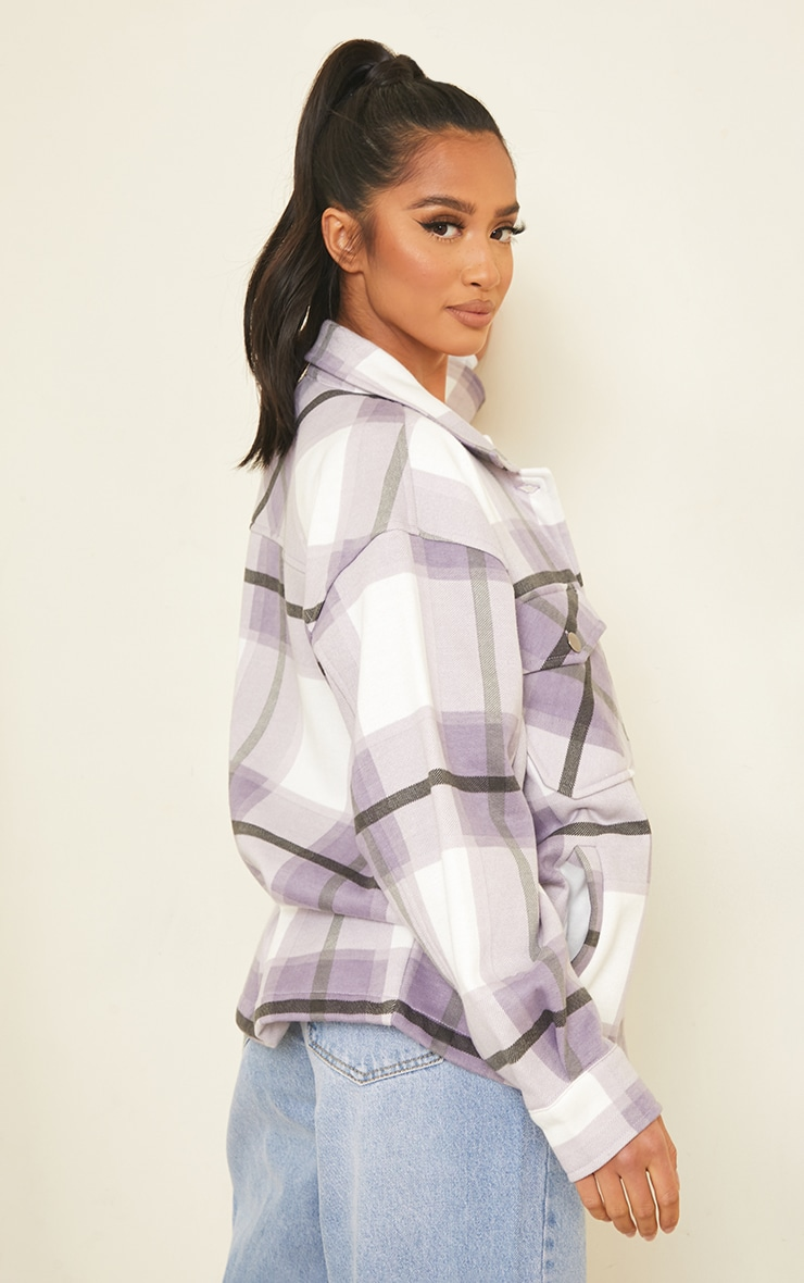 Petite Purple  Checked Pocket Front Shacket 2