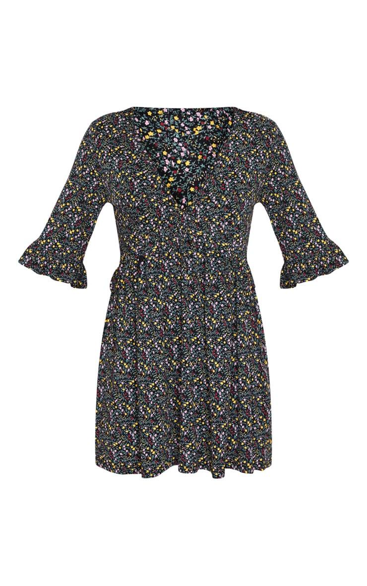 Black Ditsy Floral V Neck Frill Smock Dress 5