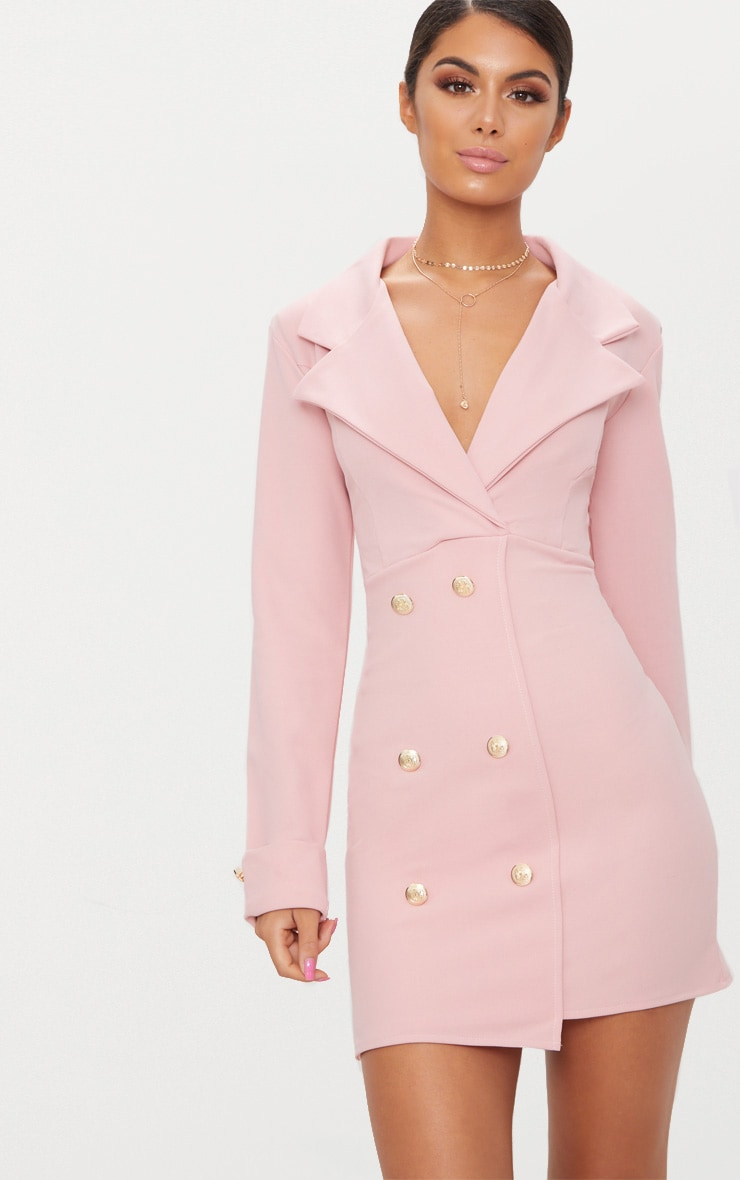 Dusty Pink Gold Button Detail Blazer Dress 1