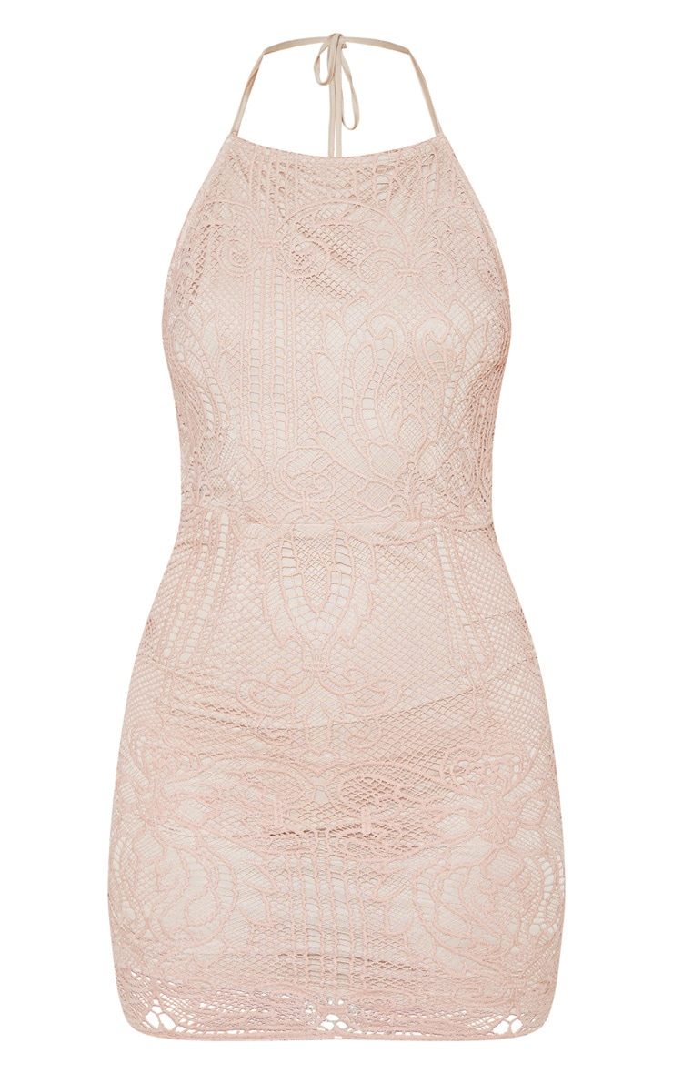 Sassia Dusty Pink Halterneck Strappy Back Lace Dress 3