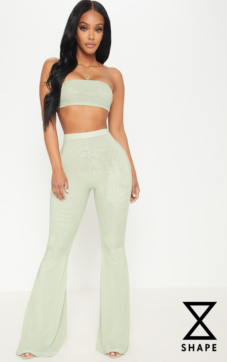 Shape Sage Green Slinky Flared Trousers 1