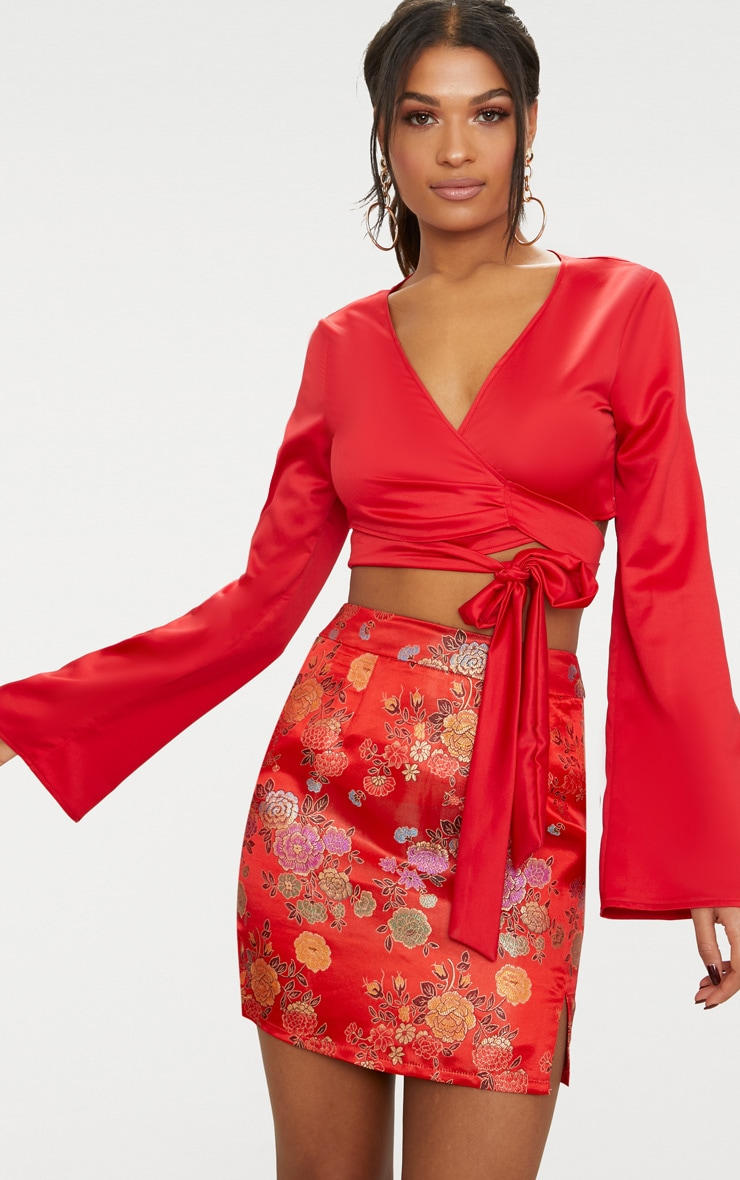 Red Satin Twist Front Wrap Blouse 1