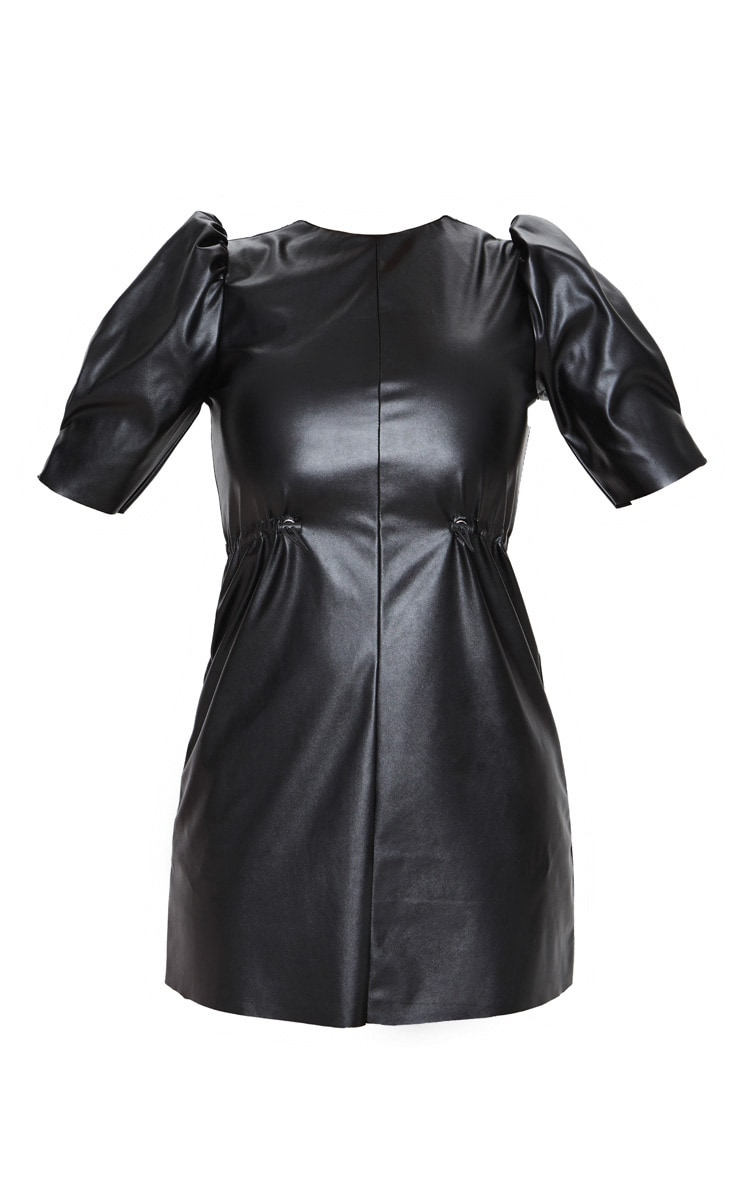 Black Faux Leather Puff Sleeve Toggle Waist Shift Dress 3