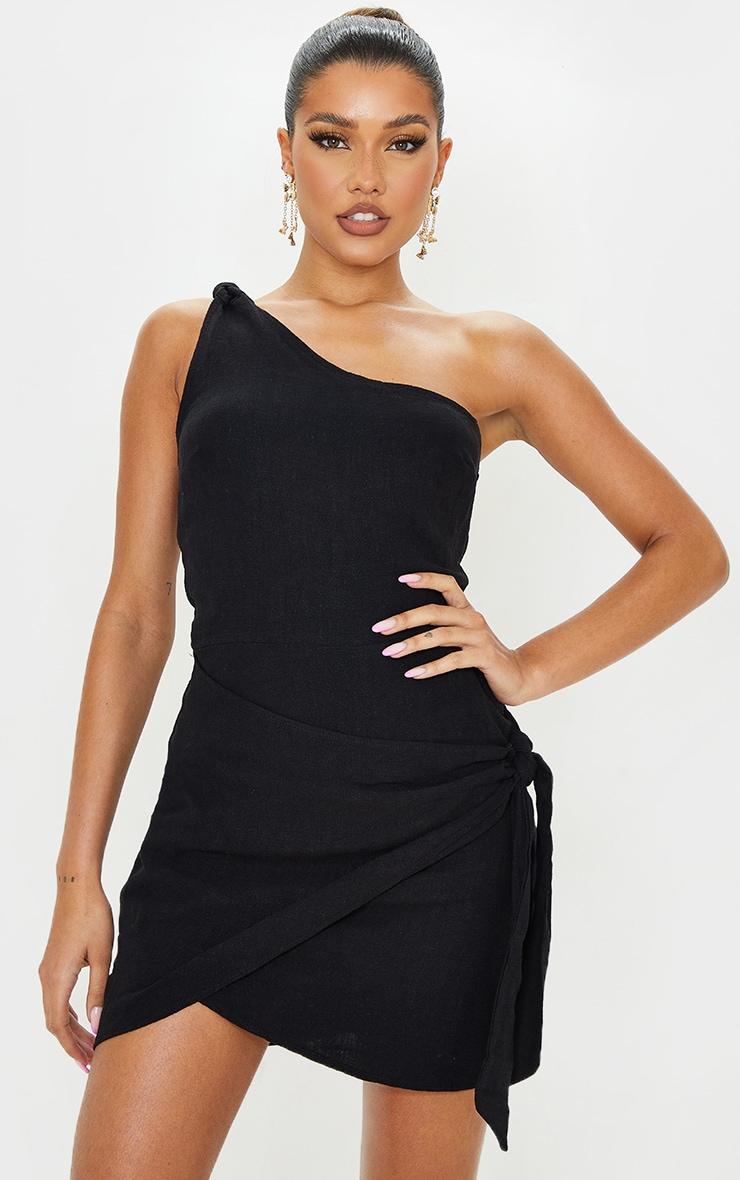 Black Linen Look One Shoulder Knot Detail Wrap Skirt Bodycon Dress 4