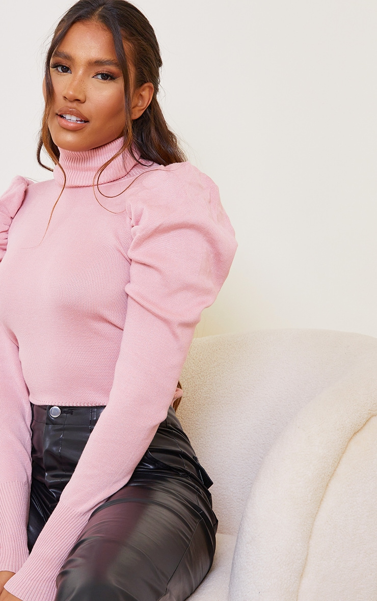 Pink Roll Neck Puff Shoulder Sweater 4