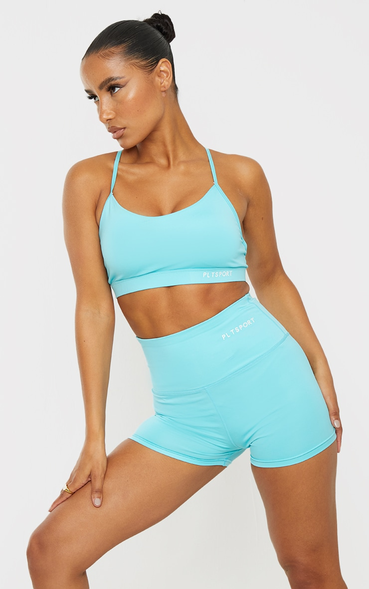 Recycled Blue Fabric Medium Support Strappy Back Sports Bra 1