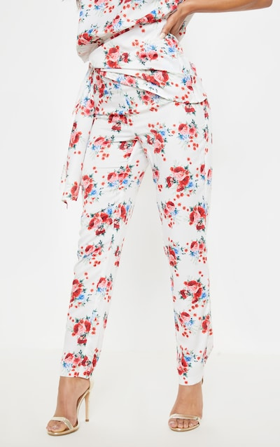 White Rose Print Woven High Waisted Straight Leg Trouser