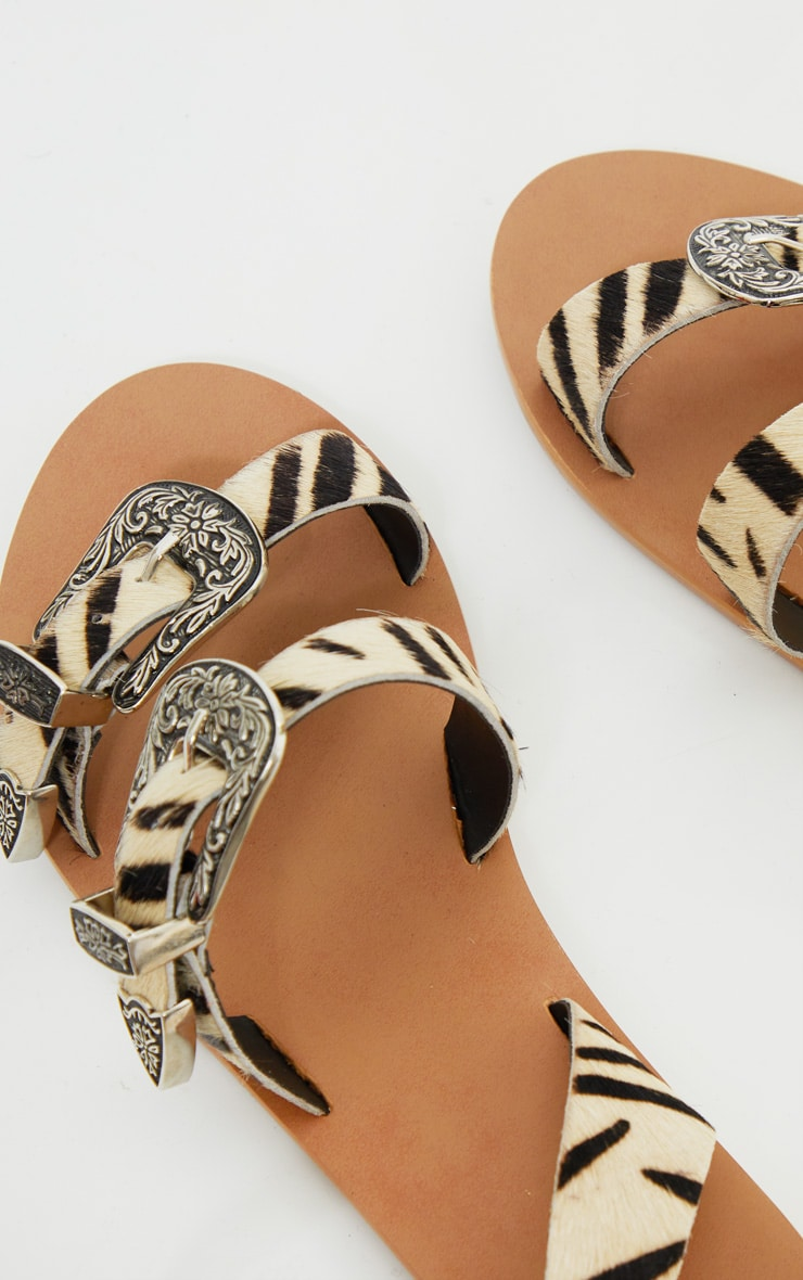 Zebra Western Buckle Leather Sandal 3