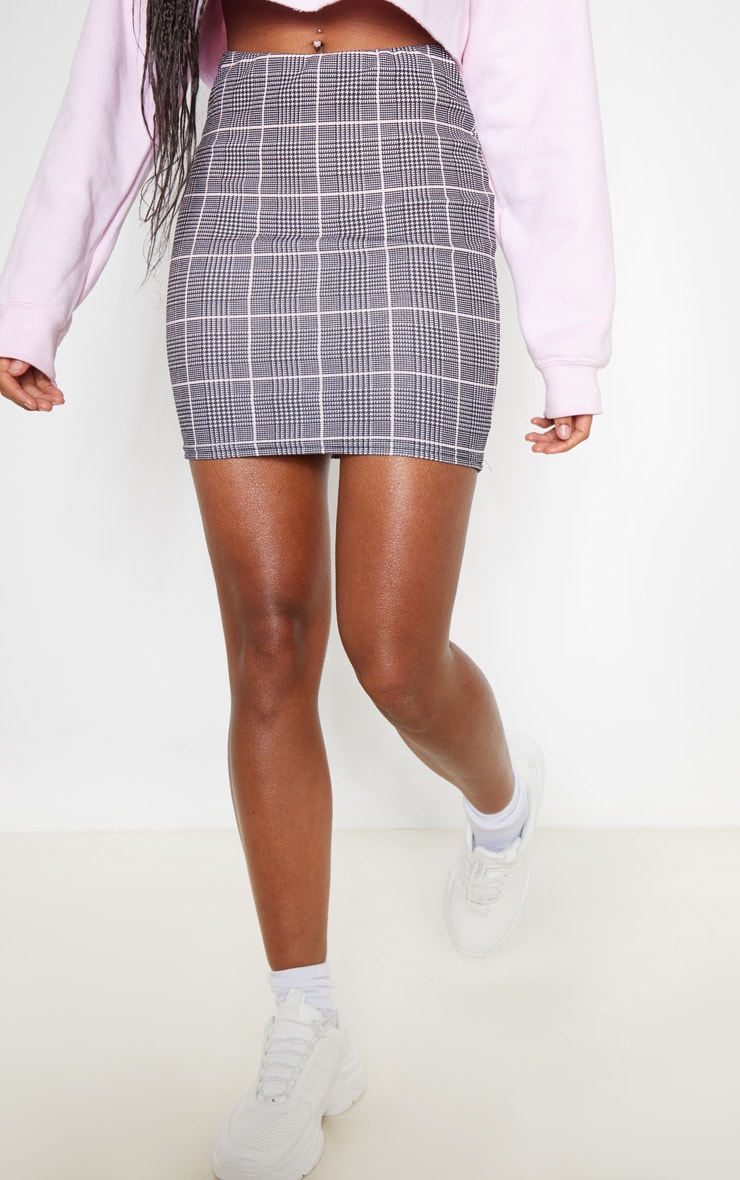 Grey Check Mini Skirt 2
