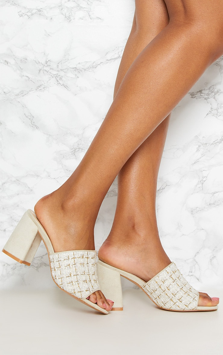 Cream Tweed Block Heel Mule