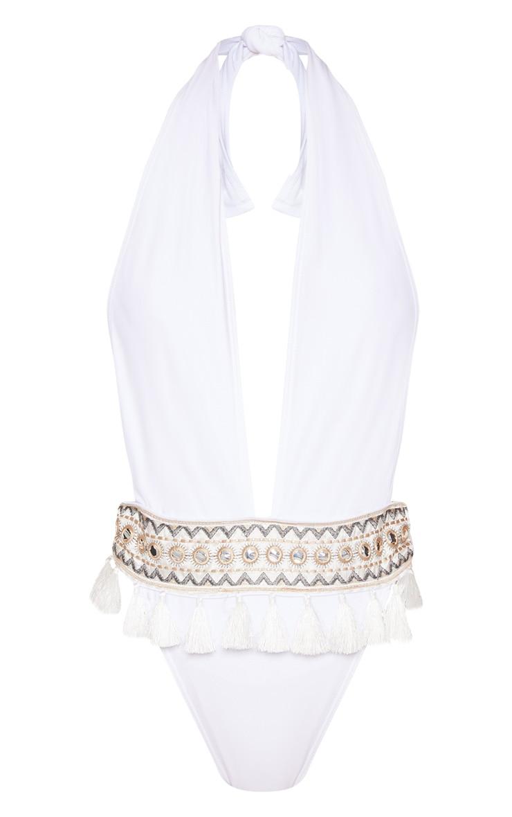 White Halter Tie Tassel Mirror Trimmed Swimsuit 3