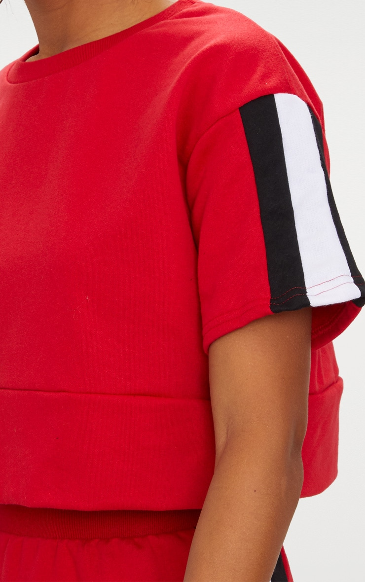 Red Contrast Panel Oversized Short Sleeve Sweater  5