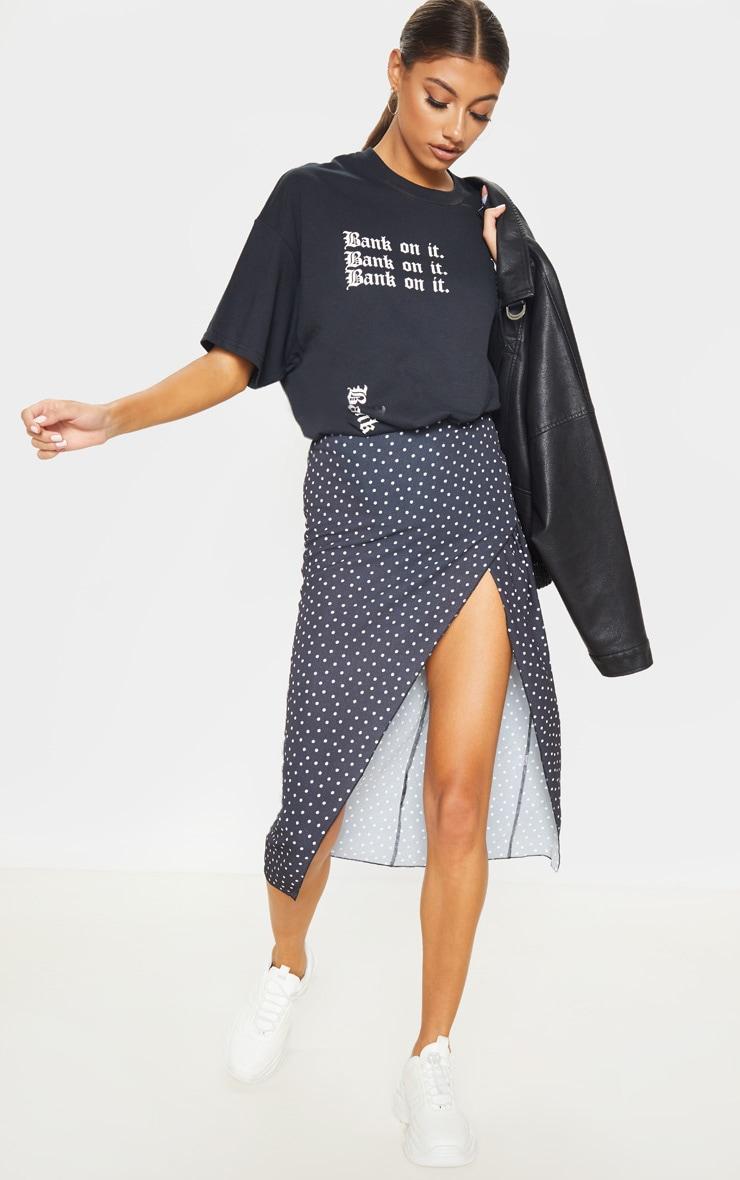 Tall Black Polkadot Wrap Pencil Skirt  1