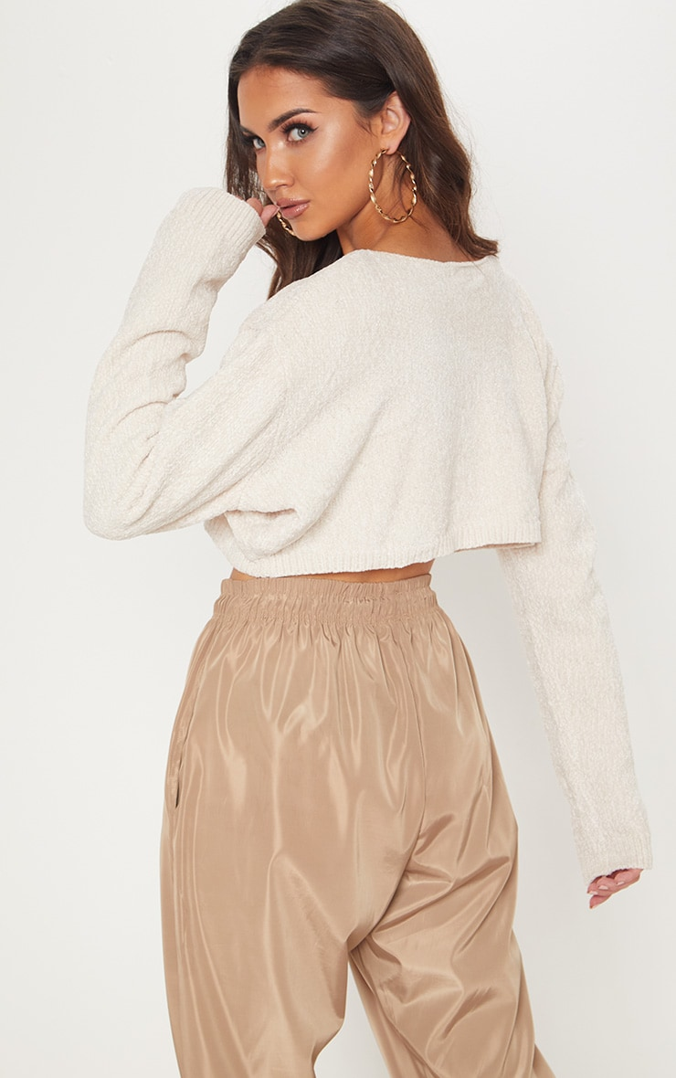 Cream Chenille Cropped Knitted Sweater  2
