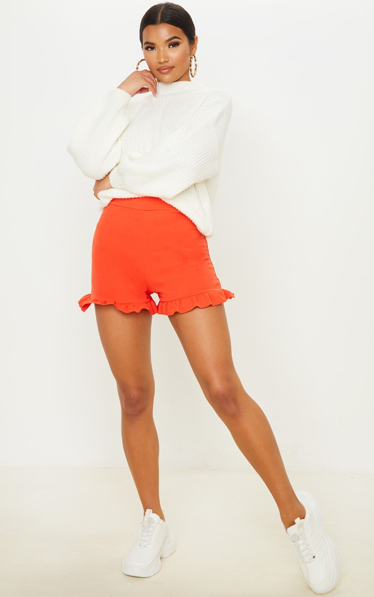 Orange Frill Hem Shorts  2