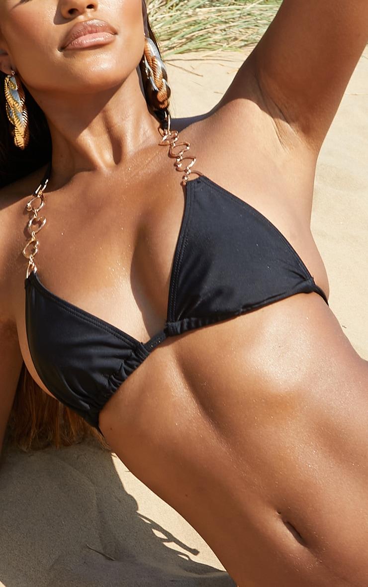 Black Heart Strap Triangle Bikini Top 4