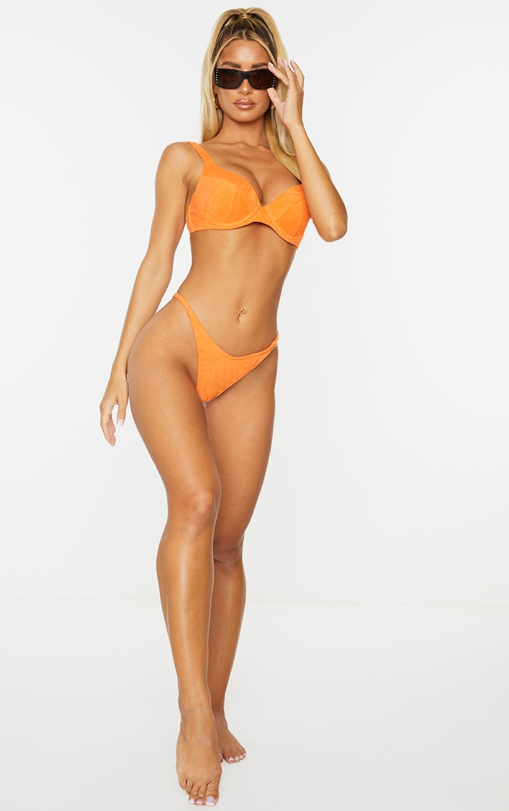 Orange Towel Push Up Cupped Bikini Top 3