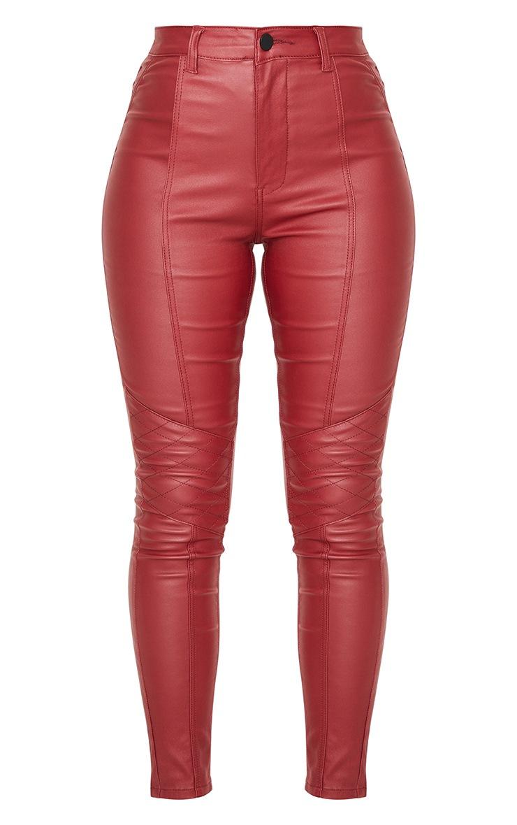 Red Biker Coated Skinny Jeans 5