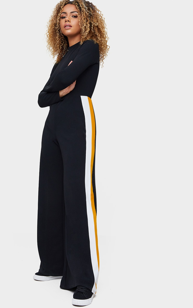 Black High Neck Sports Stripe Jumpsuit 1
