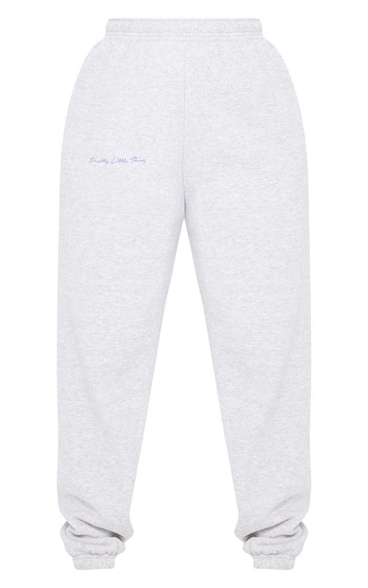 PRETTYLITTLETHING Ash Grey Embroidered Joggers 5
