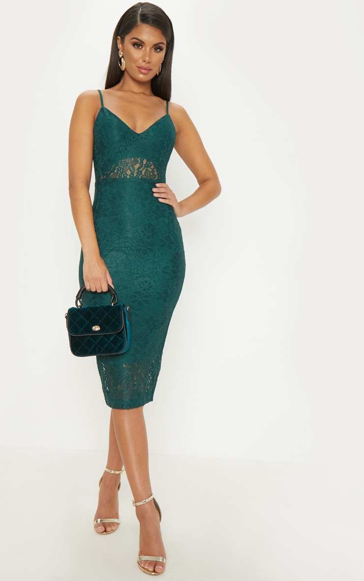 Emerald Green Lace Plunge Midi Dress  1