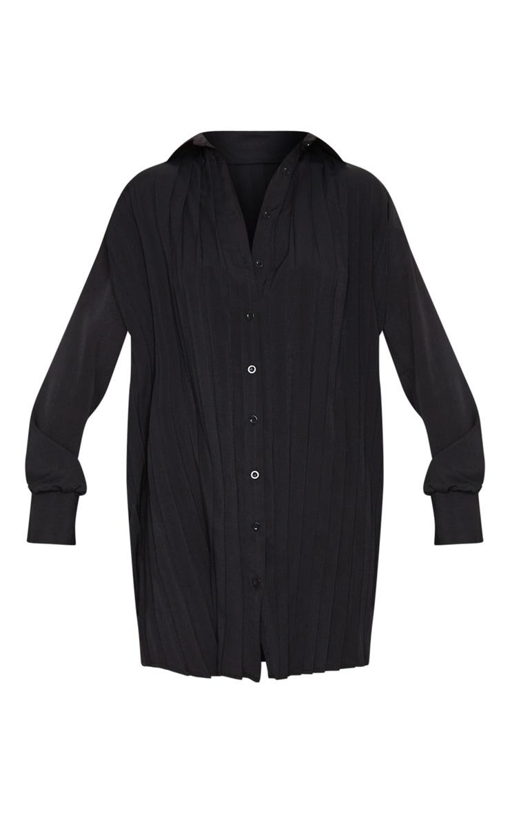 Black Pleated Oversized Shirt Dress 5