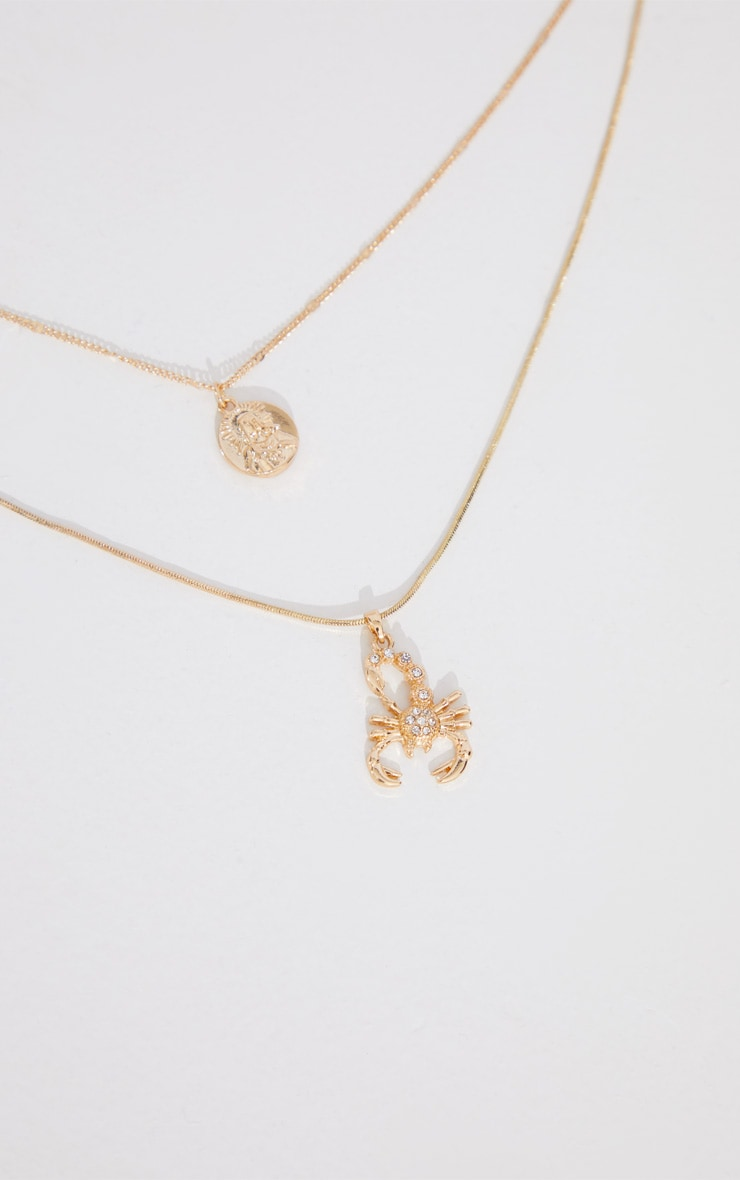 Gold Diamante Scorpion Layering Necklace 3