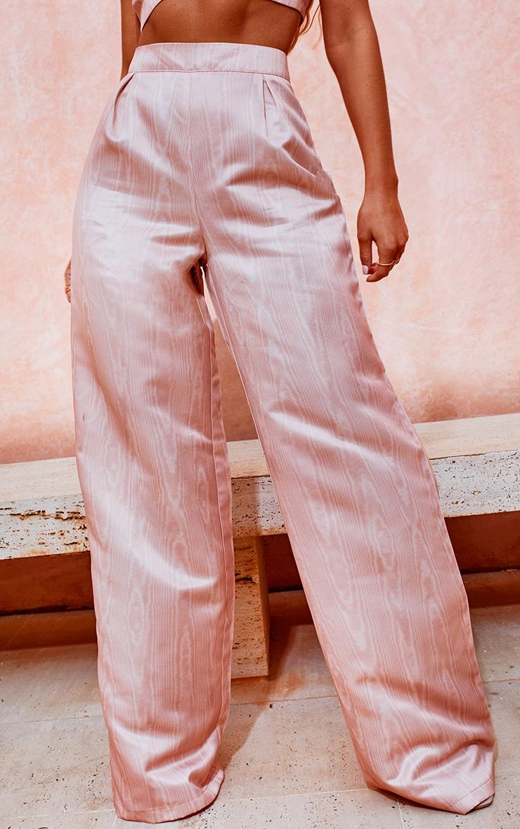 Peach Satin Printed Wide Leg Trousers 2