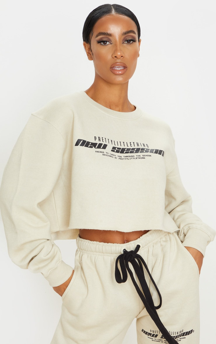PRETTYLITTLETHING Sand New Season Slogan Cropped Sweater 1