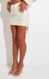 Cream Satin Ruched Side Mini Skirt 5