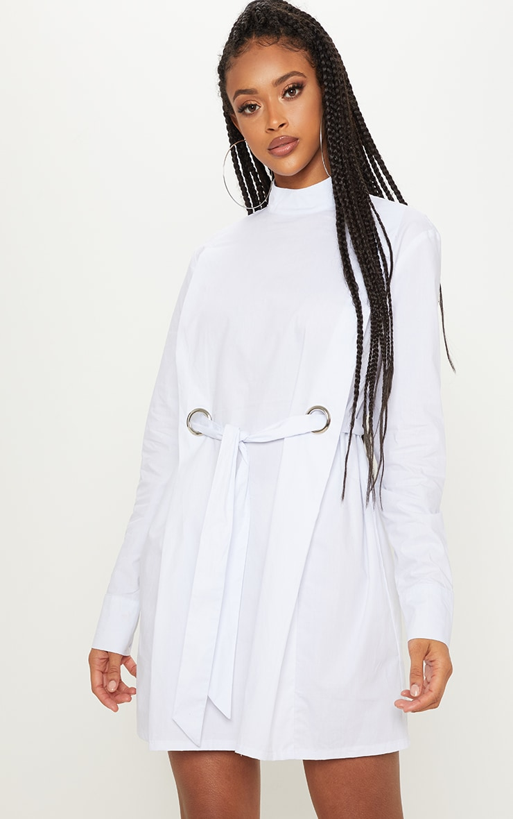White High Neck Ring Detail Shirt Dress