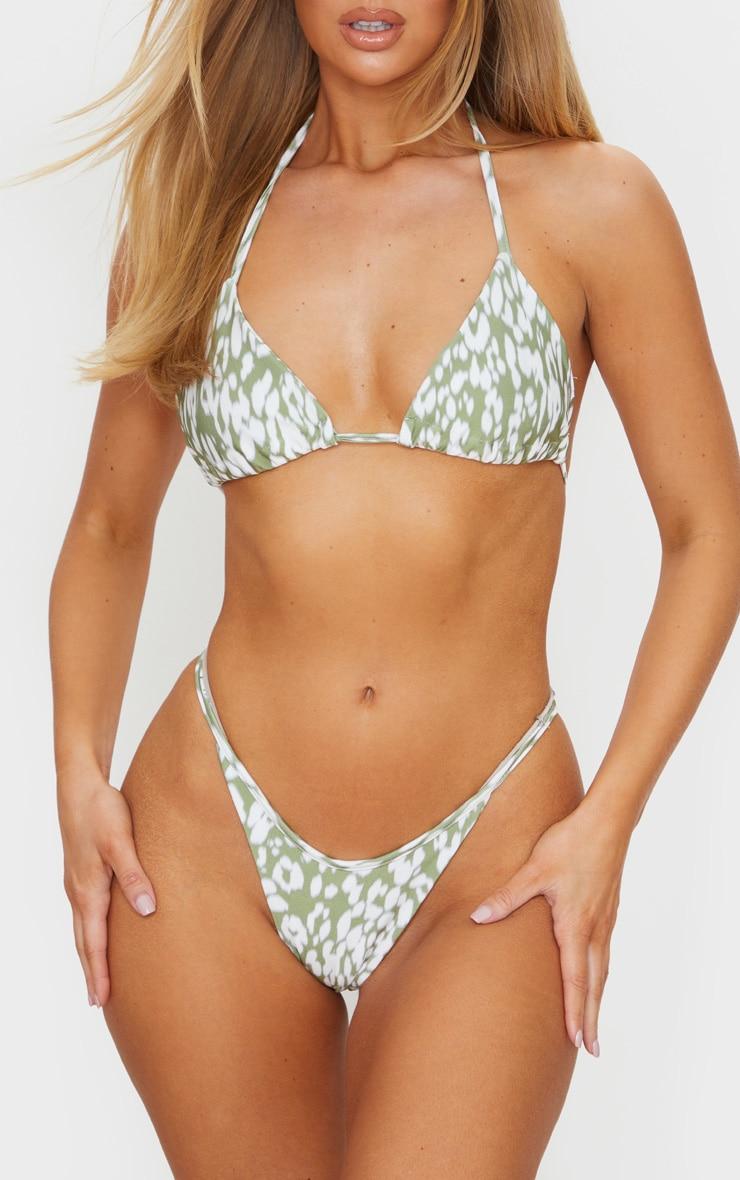 Green Blurred Cheetah Tanga Bikini Bottom 1