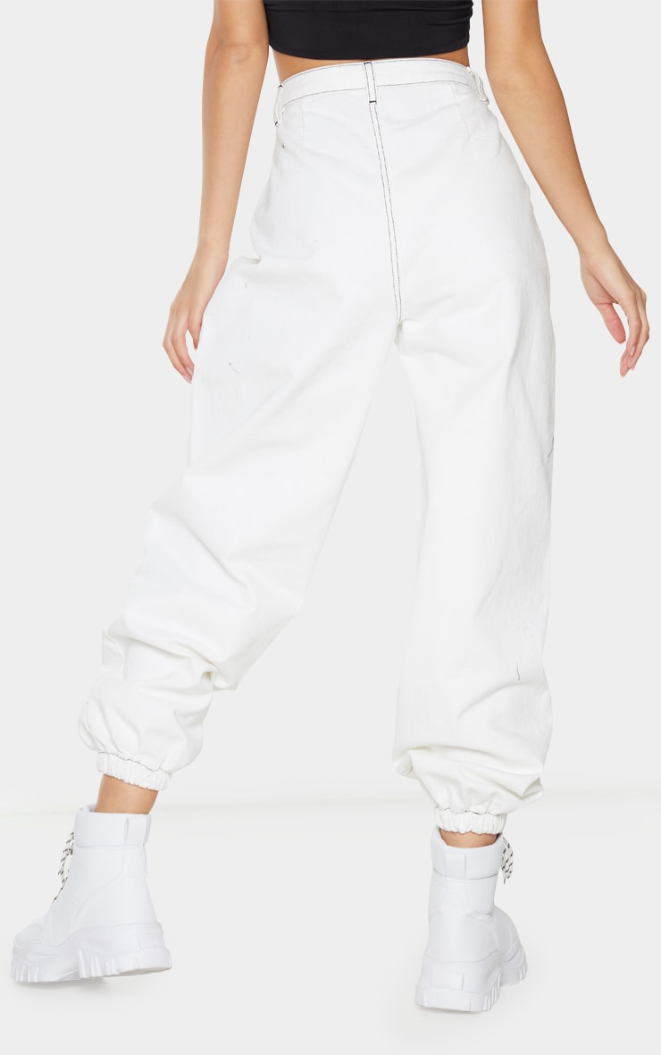 White Contrast Stitch Cuffed Extreme Jogger Jeans 3