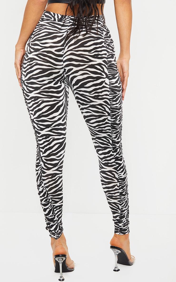 Zebra Ruched Side Slinky Leggings 3