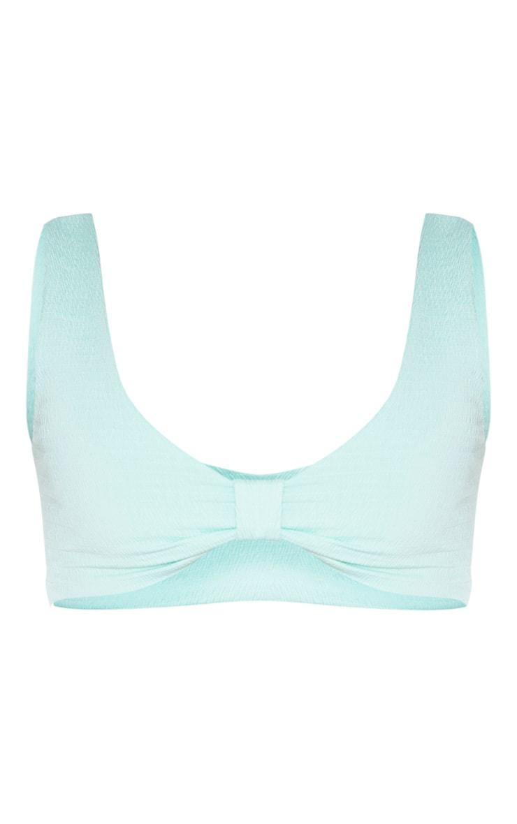 Mint Bow Detail Crinkle Bikini Top 3