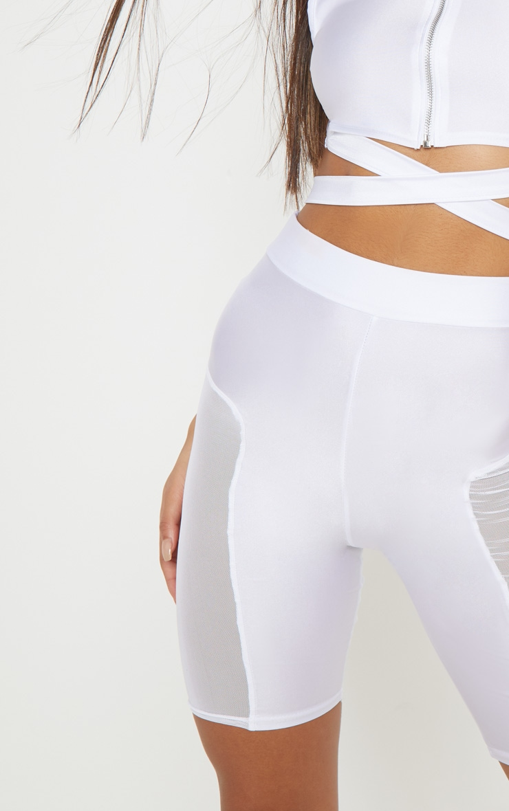 White Mesh Side Panel Cycling Shorts 6