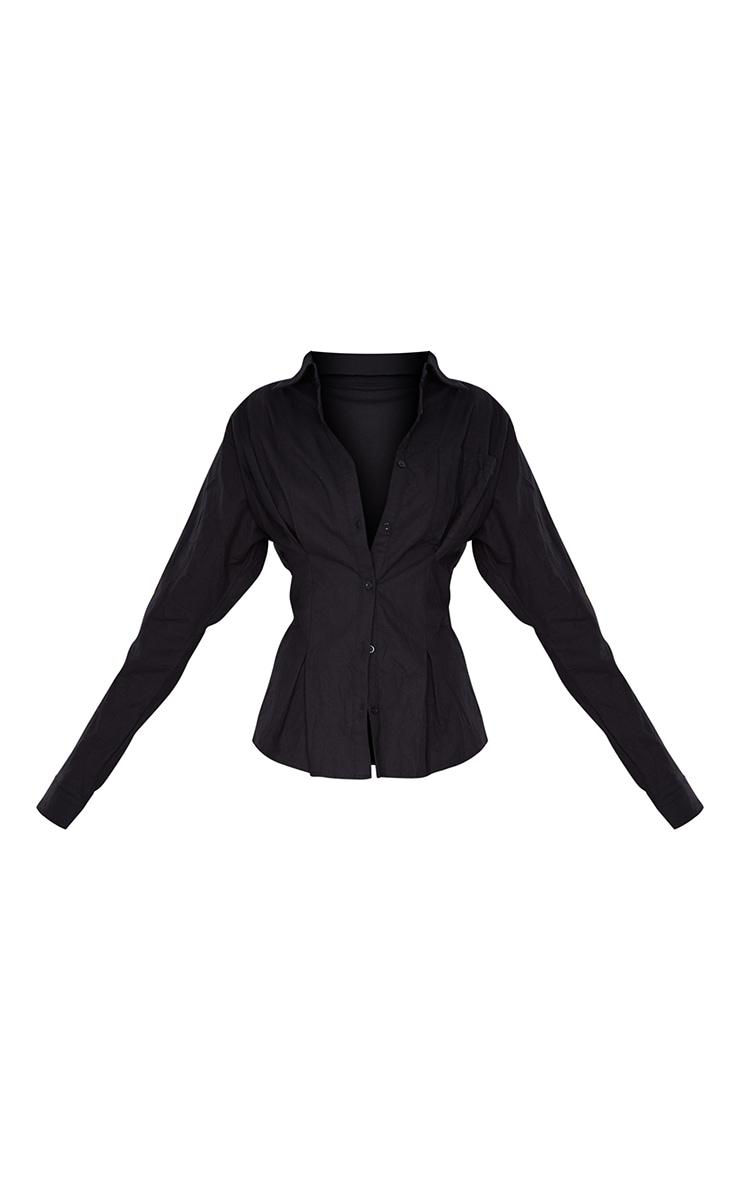 Black Textured Linen Oversized Cinched Waist Shirt 5