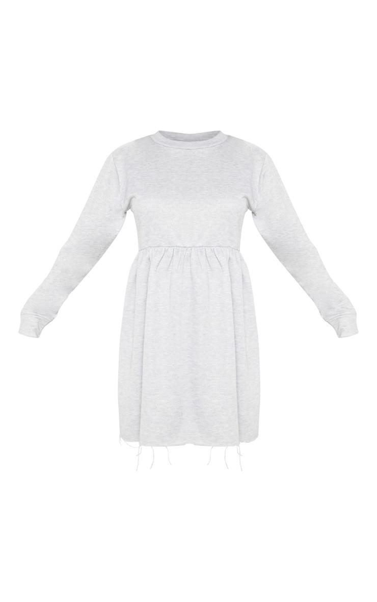 Grey Sweat Long Sleeve Smock Dress 3
