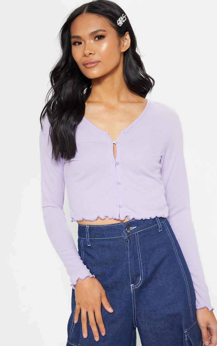 Lilac Rib Button Front Long Sleeve Crop Top 5