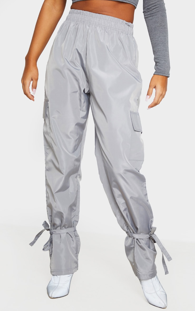 Grey Shell Tie Ankle Cargo Jogger 2