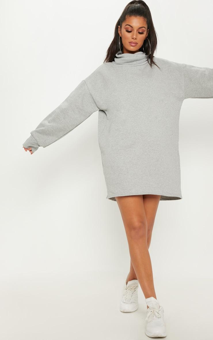 énorme réduction 0051b 25fcb Robe pull oversize grise à col roulé