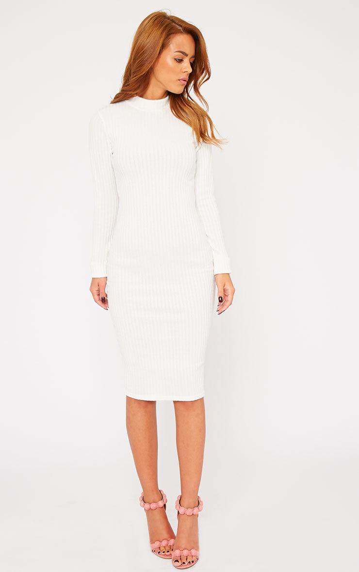 Kiko Cream Ribbed Long Sleeve Midi Dress 5