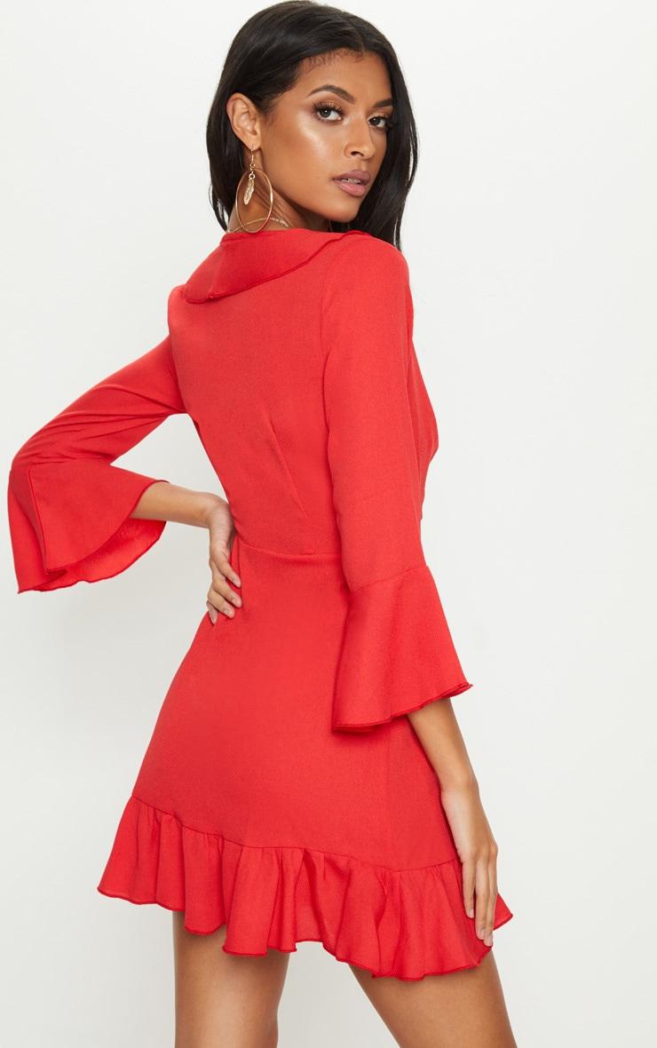 Red Frill Wrap Tea Dress 2