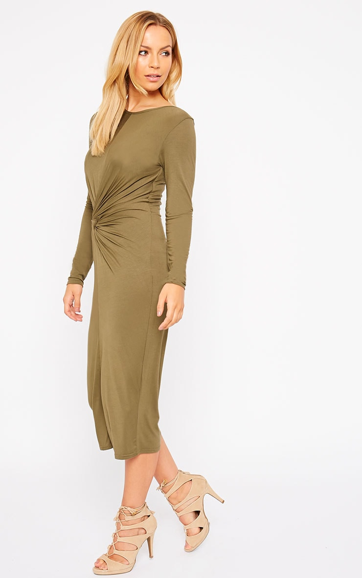 Kenna Khaki Knot Front Midi Dress 4