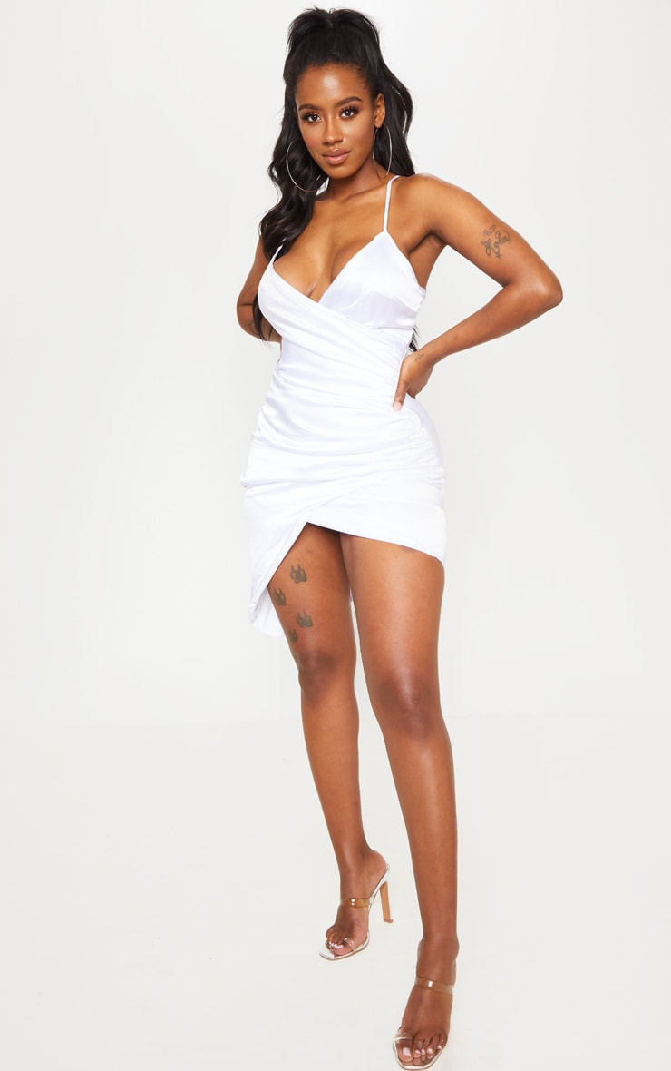 Shape White Satin Wrap Dress 4