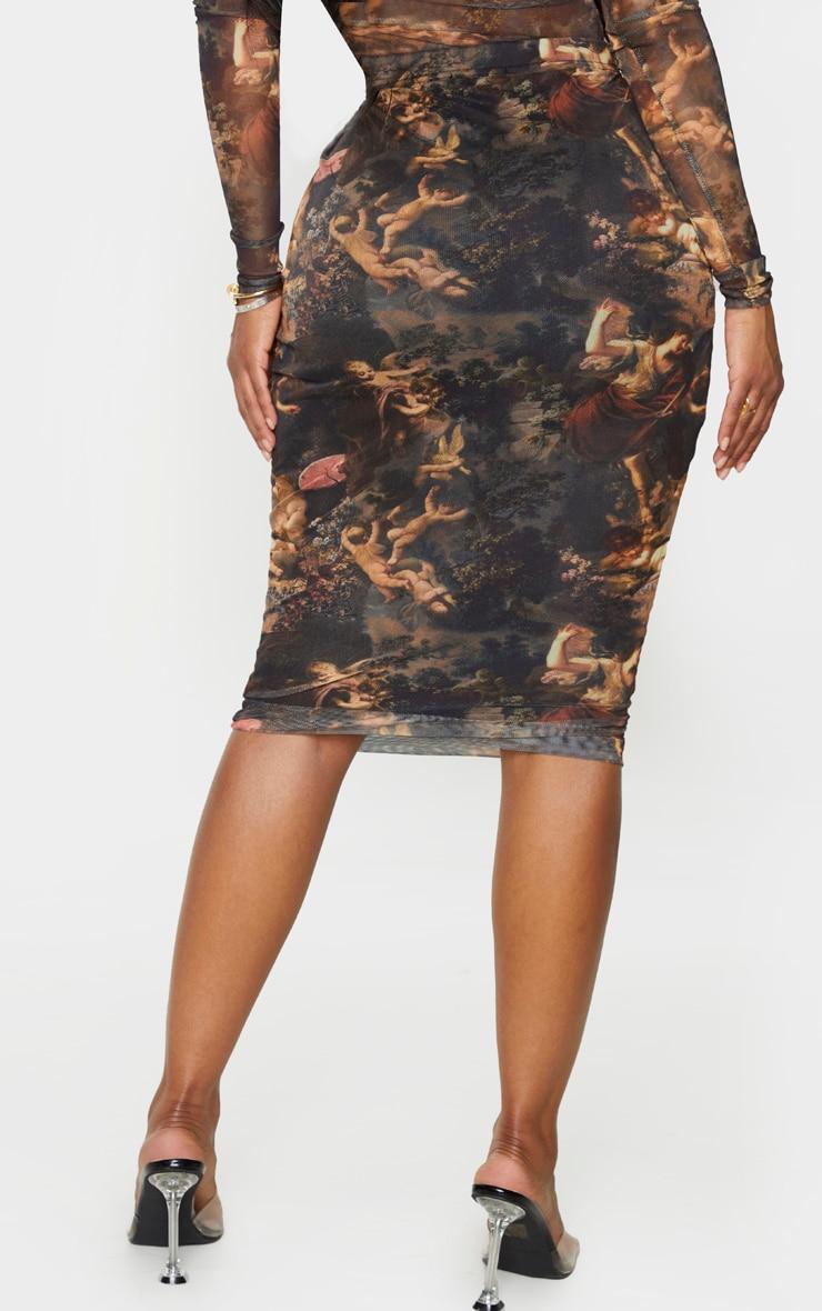 Shape Renaissance Printed Mesh Midi Skirt 4